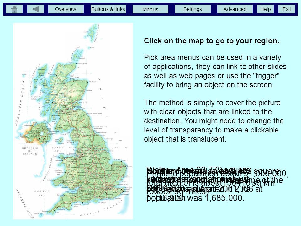 OverviewButtons & linksSettingsAdvancedExit Menus Help Click on the map to go to your region.