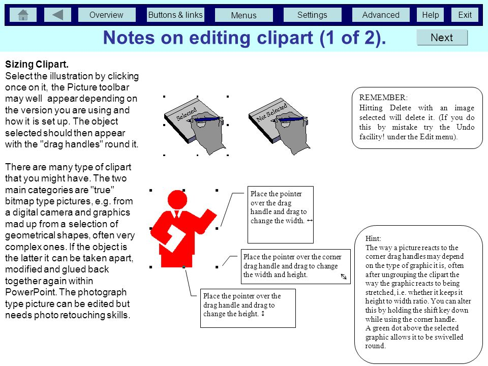 OverviewButtons & linksSettingsAdvancedExit Menus Help More more advanced features. Notes on editing clipart. This is a huge cheat in terms of a cogen
