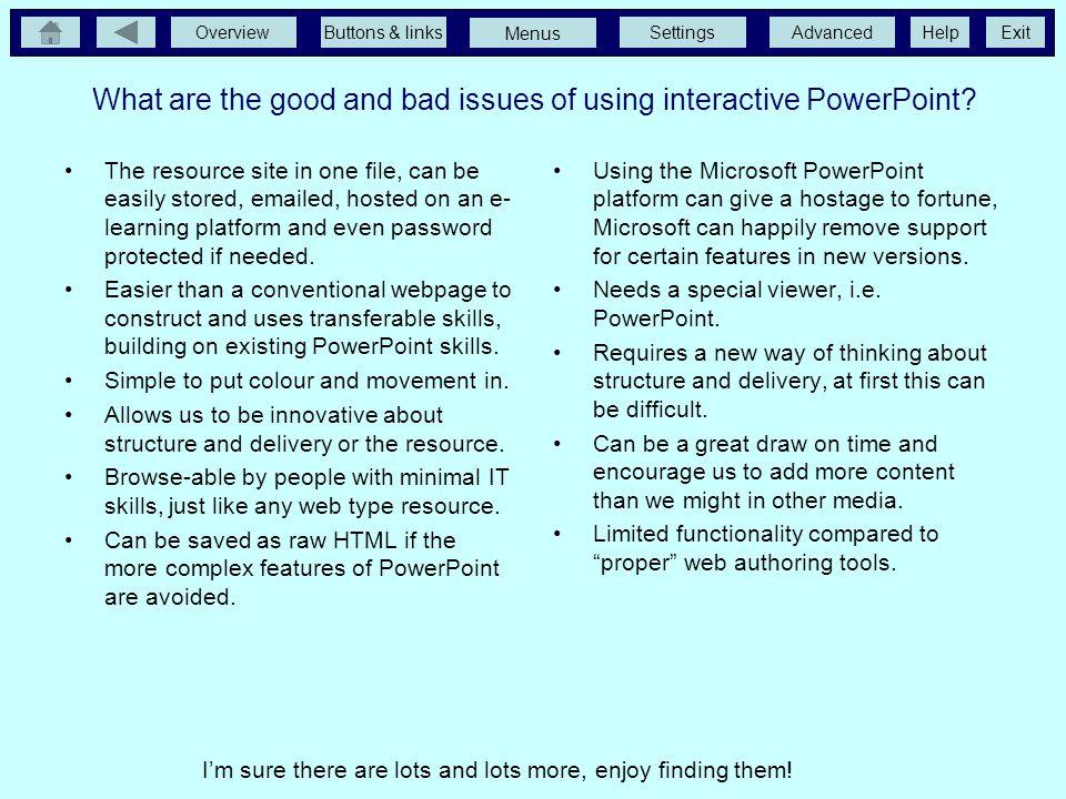 OverviewButtons & linksSettingsAdvancedExit Menus Help The master slide Changing a Slide Master To change a Slide Master select Master from the View m