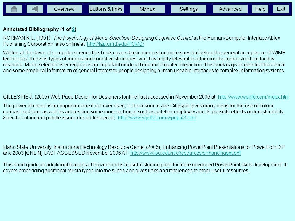 OverviewButtons & linksSettingsAdvancedExit Menus Help Andrew Garth, Sheffield Hallam University, Sheffield, England. 0114 2255555 http://www.shu.ac.u