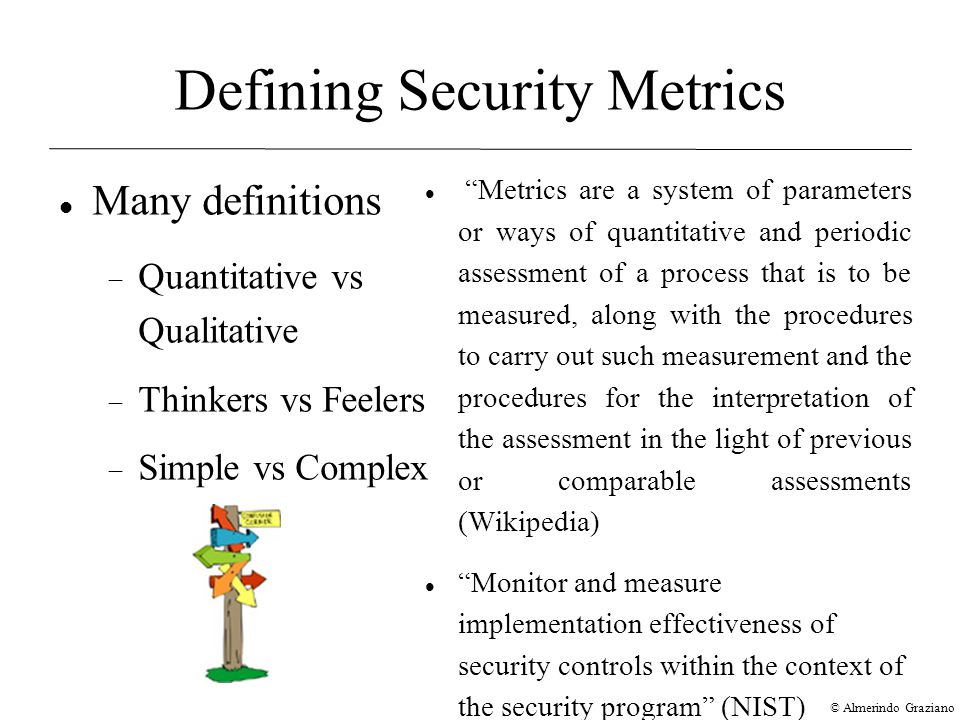 © Almerindo Graziano Defining Security Metrics Many definitions  Quantitative vs Qualitative  Thinkers vs Feelers  Simple vs Complex Metrics are a system of parameters or ways of quantitative and periodic assessment of a process that is to be measured, along with the procedures to carry out such measurement and the procedures for the interpretation of the assessment in the light of previous or comparable assessments (Wikipedia)‏ Monitor and measure implementation effectiveness of security controls within the context of the security program (NIST)‏