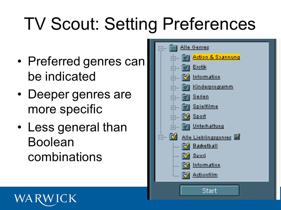 TV Scout: Setting Preferences Preferred genres can be indicated Deeper genres are more specific Less general than Boolean combinations