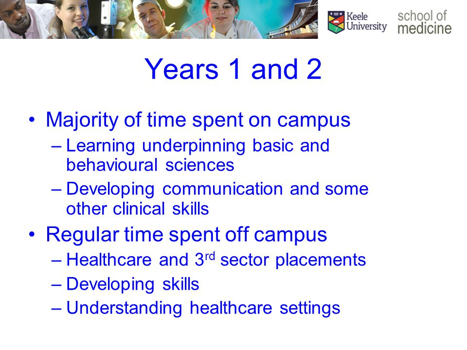 Years 1 and 2 Majority of time spent on campus –Learning underpinning basic and behavioural sciences –Developing communication and some other clinical skills Regular time spent off campus –Healthcare and 3 rd sector placements –Developing skills –Understanding healthcare settings