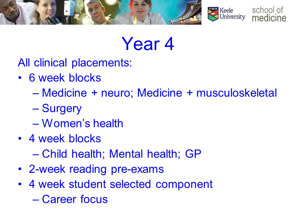 Year 4 All clinical placements: 6 week blocks –Medicine + neuro; Medicine + musculoskeletal –Surgery –Women's health 4 week blocks –Child health; Mental health; GP 2-week reading pre-exams 4 week student selected component –Career focus