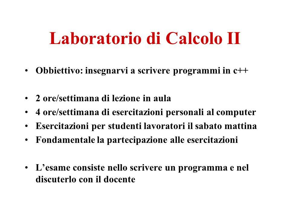 Laboratorio di Calcolo II Obbiettivo: insegnarvi a scrivere programmi in c++ 2 ore/settimana di lezione in aula 4 ore/settimana di esercitazioni perso