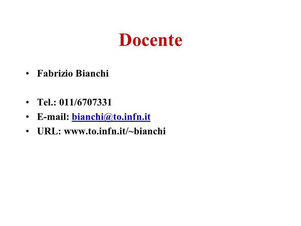Docente Fabrizio Bianchi Tel.: 011/6707331 E-mail: bianchi@to.infn.itbianchi@to.infn.it URL: www.to.infn.it/~bianchi