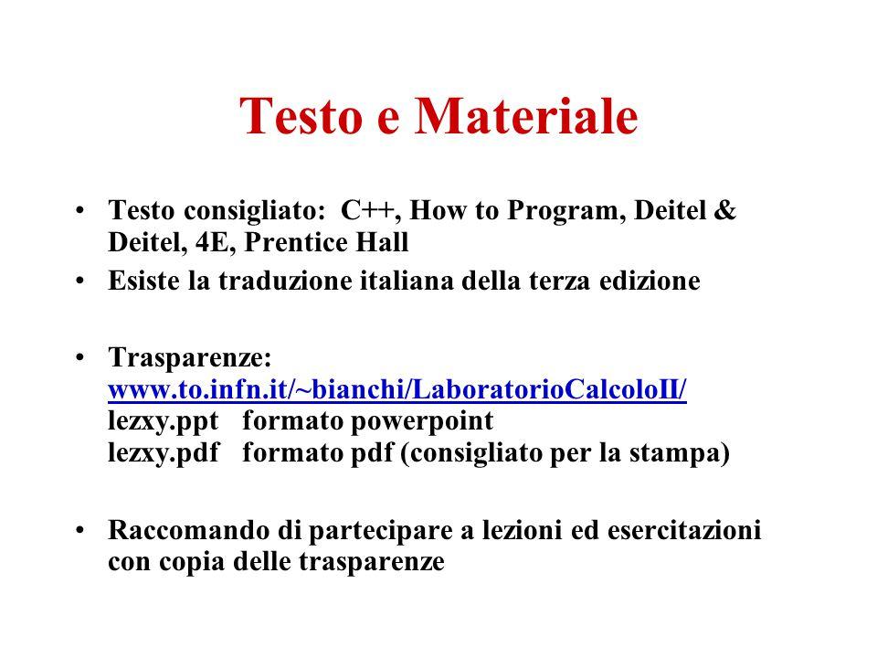 Testo e Materiale Testo consigliato: C++, How to Program, Deitel & Deitel, 4E, Prentice Hall Esiste la traduzione italiana della terza edizione Traspa