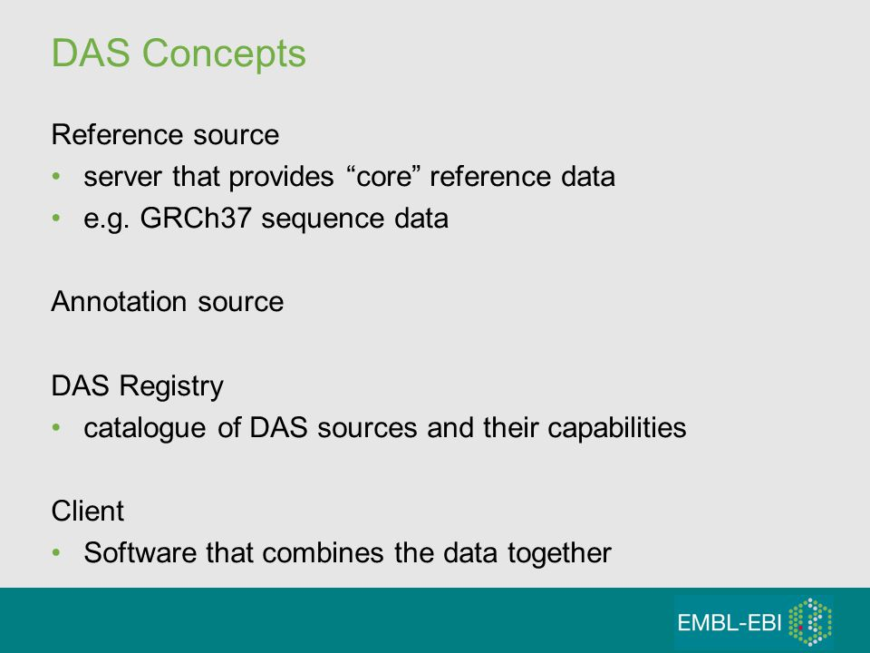 DAS Concepts Reference source server that provides core reference data e.g.