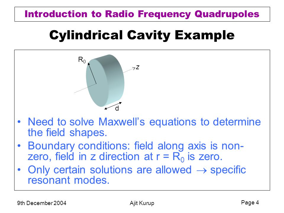 Page 4 Introduction to Radio Frequency Quadrupoles 9th December 2004Ajit Kurup Cylindrical Cavity Example Need to solve Maxwell's equations to determi