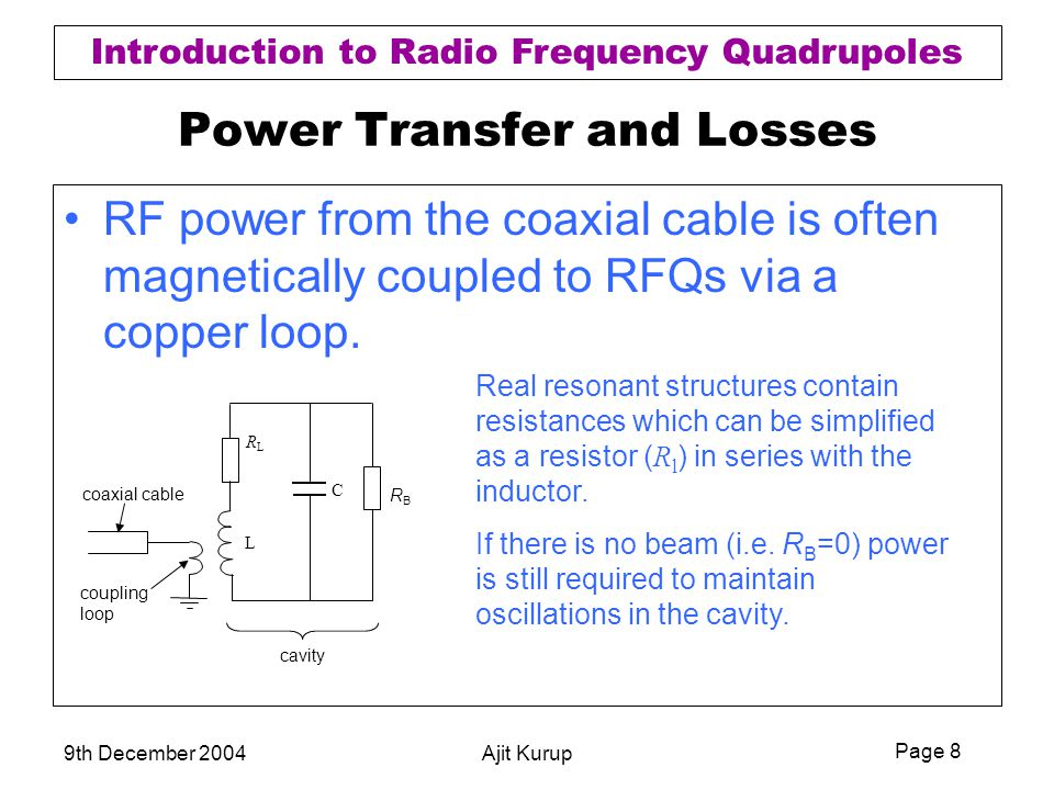 Page 8 Introduction to Radio Frequency Quadrupoles 9th December 2004Ajit Kurup Power Transfer and Losses RF power from the coaxial cable is often magn