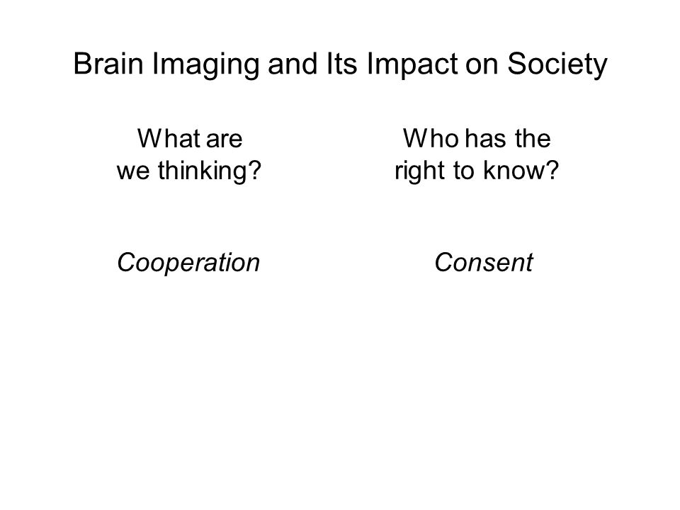 Brain Imaging and Its Impact on Society Who has the right to know.