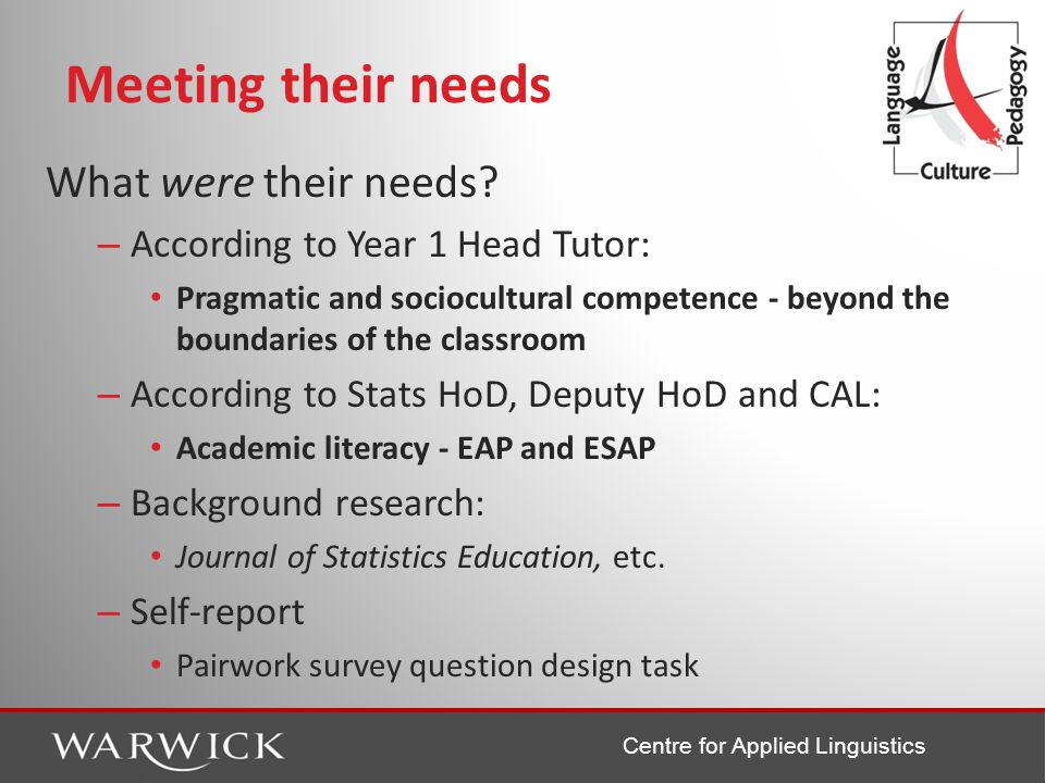 Centre for Applied Linguistics Meeting their needs What were their needs.