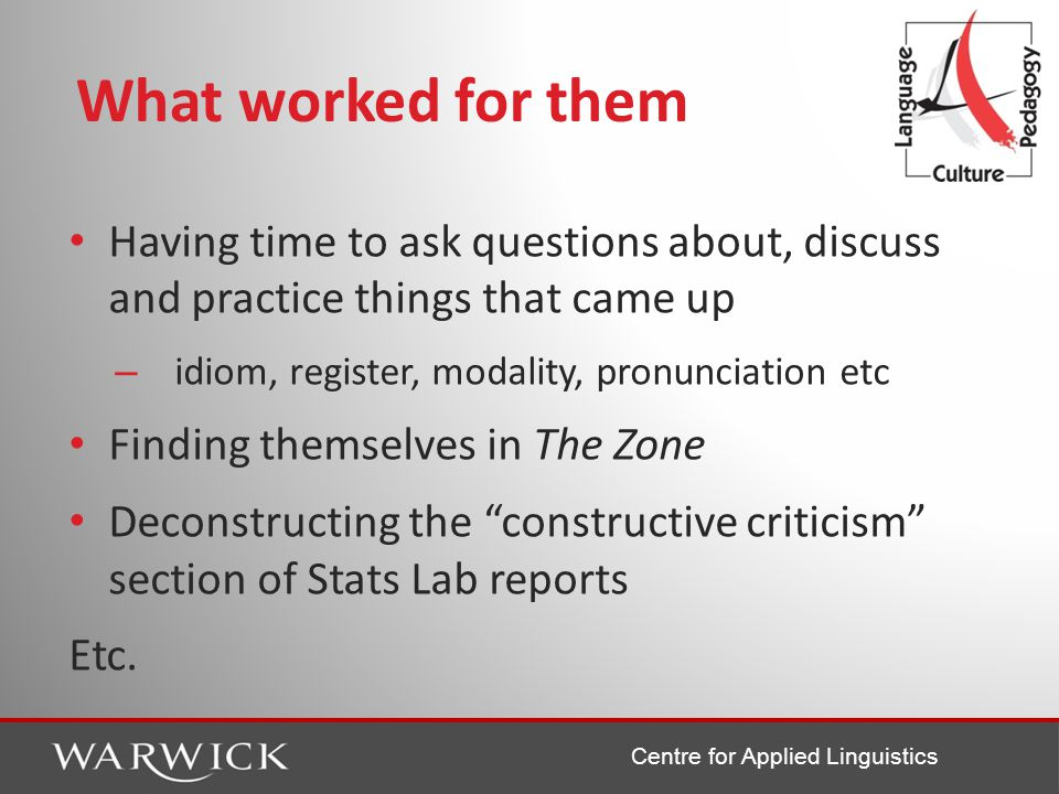Centre for Applied Linguistics What worked for them Having time to ask questions about, discuss and practice things that came up – idiom, register, modality, pronunciation etc Finding themselves in The Zone Deconstructing the constructive criticism section of Stats Lab reports Etc.