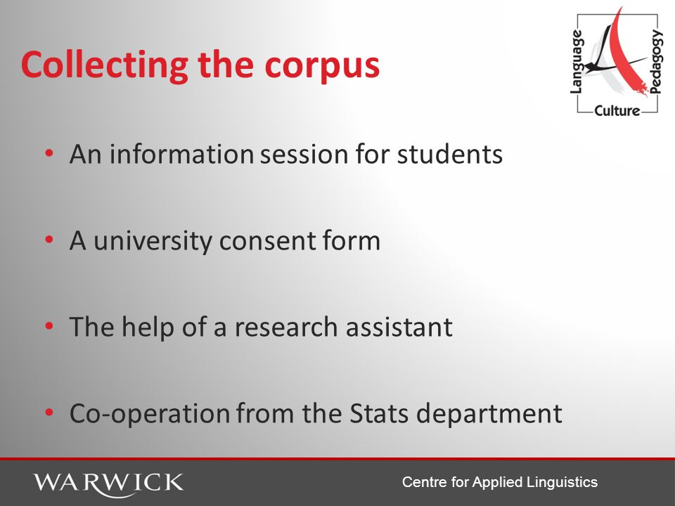 Centre for Applied Linguistics Collecting the corpus An information session for students A university consent form The help of a research assistant Co-operation from the Stats department
