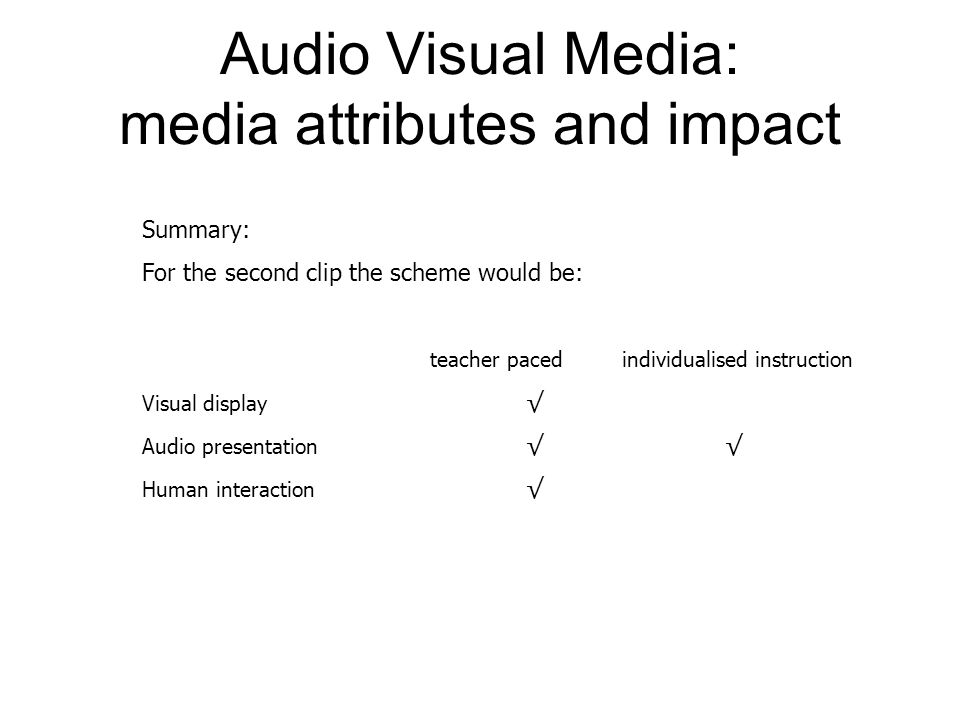 Audio Visual Media: media attributes and impact Summary: For the second clip the scheme would be: teacher pacedindividualised instruction Visual display √ Audio presentation √ √ Human interaction √