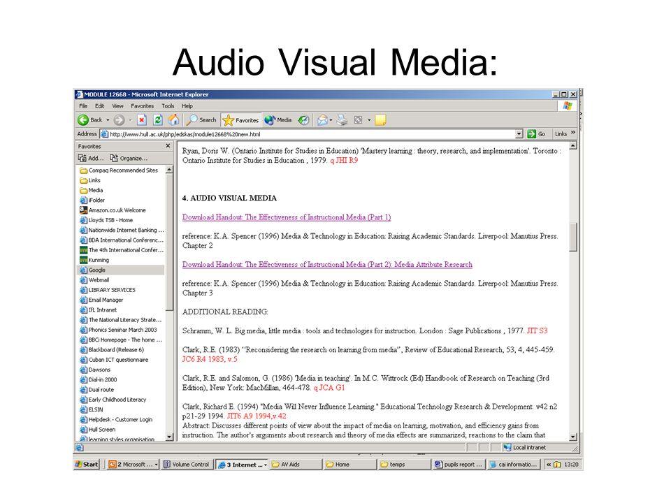 Audio Visual Media: