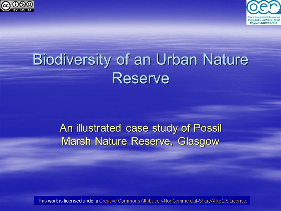 Biodiversity of an Urban Nature Reserve An illustrated case study of Possil Marsh Nature Reserve, Glasgow This work is licensed under a Creative Commons Attribution-NonCommercial-ShareAlike 2.5 License.Creative Commons Attribution-NonCommercial-ShareAlike 2.5 License