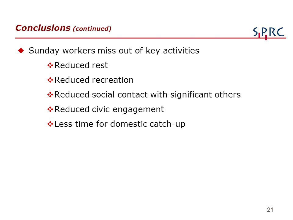 21 Conclusions (continued) uSunday workers miss out of key activities vReduced rest vReduced recreation vReduced social contact with significant other