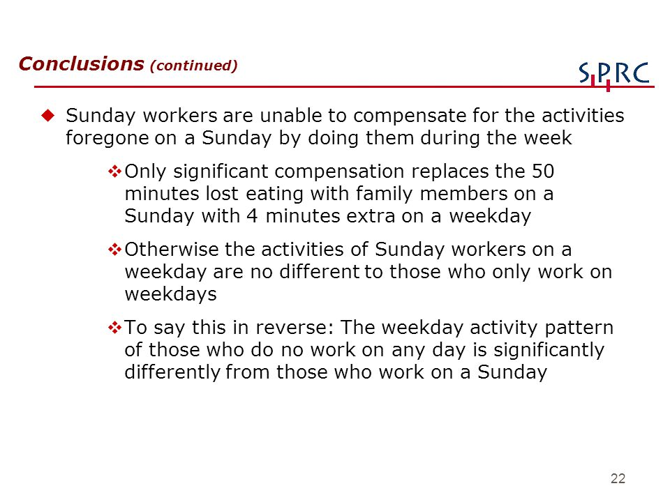 22 Conclusions (continued) uSunday workers are unable to compensate for the activities foregone on a Sunday by doing them during the week vOnly signif