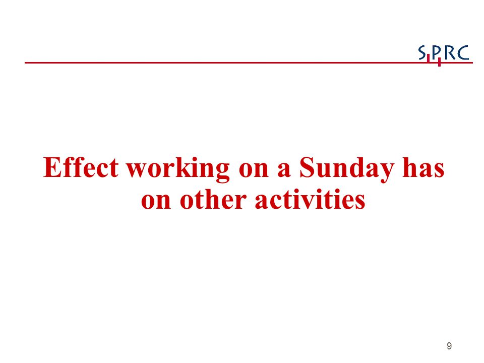 20 Conclusions (continued) uSunday workers typically put in a full working day vTypically over 7 hours vThis creates great difficulties in coordinating with the schedules of most others, whose availability is highest on Sunday