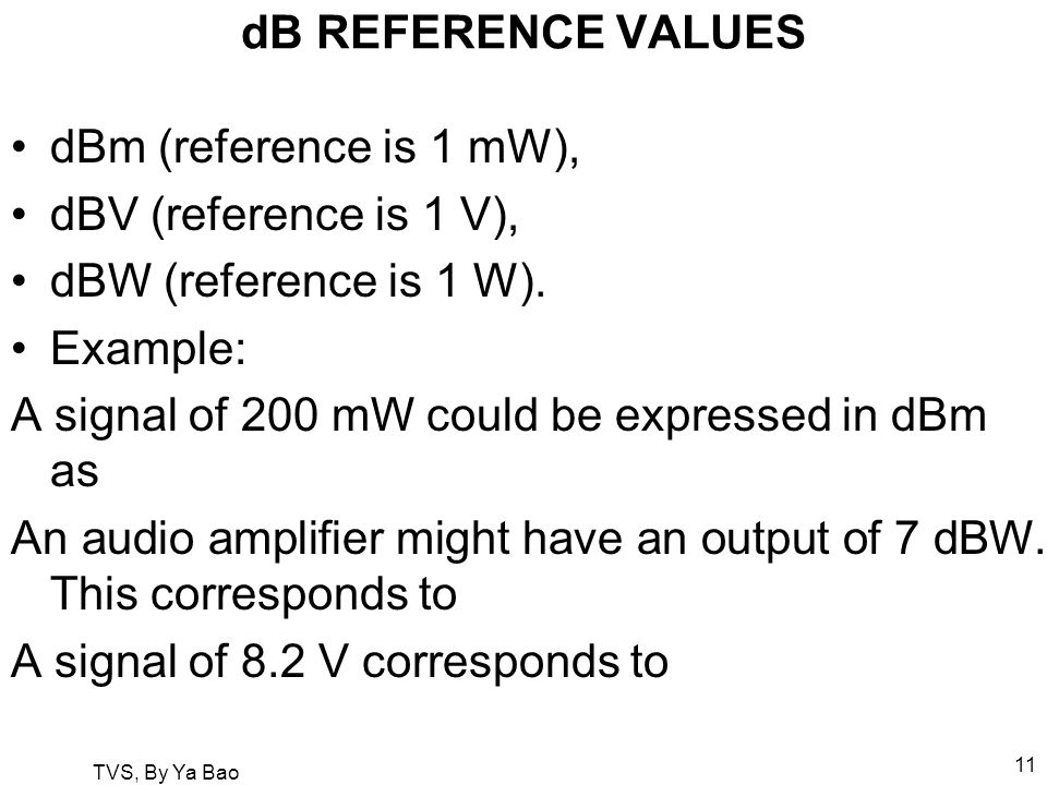 TVS, By Ya Bao 11 dB REFERENCE VALUES dBm (reference is 1 mW), dBV (reference is 1 V), dBW (reference is 1 W).