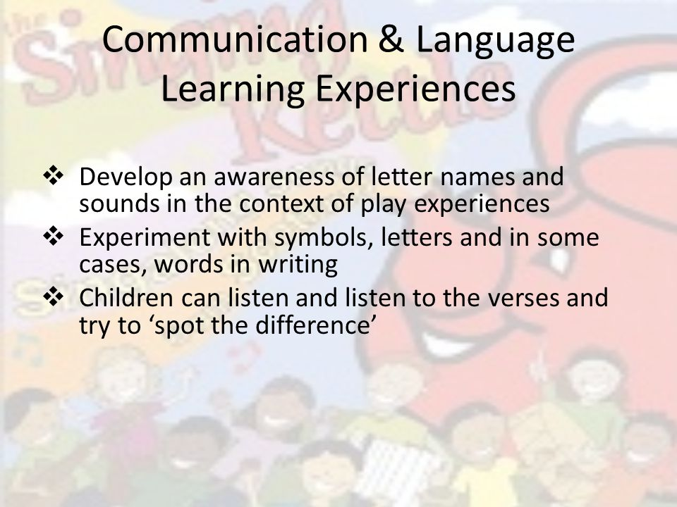 Communication and Language Activities Explore the sound of each vowel changing the sound of the word Have fun experimenting with different vowel sounds Copy the vowels onto paper, in sand, play dough etc