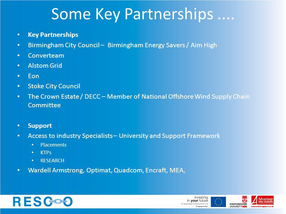 Some Key Partnerships.... Key Partnerships Birmingham City Council – Birmingham Energy Savers / Aim High Converteam Alstom Grid Eon Stoke City Council