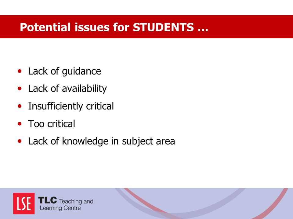 Lack of guidance Lack of availability Insufficiently critical Too critical Lack of knowledge in subject area Potential issues for STUDENTS …