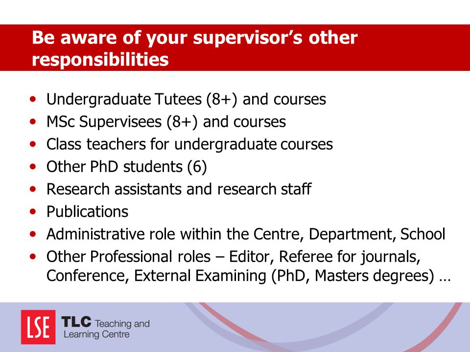 Undergraduate Tutees (8+) and courses MSc Supervisees (8+) and courses Class teachers for undergraduate courses Other PhD students (6) Research assist