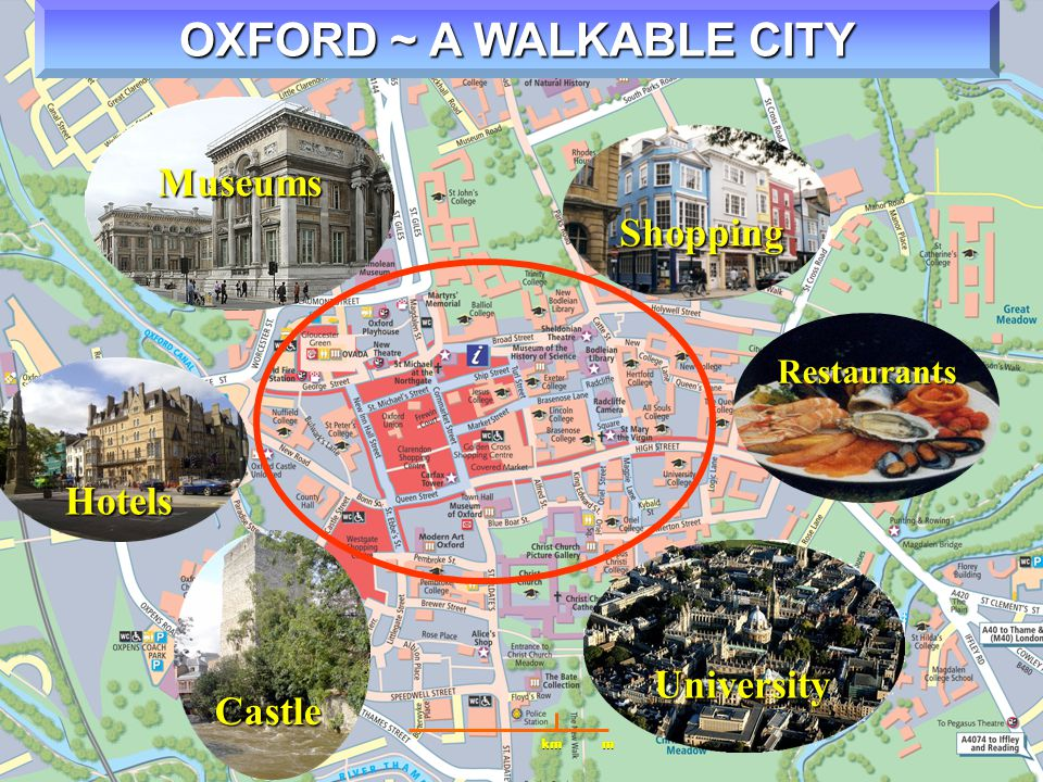 OXFORD ~ A WALKABLE CITY km m Restaurants Castle University Museums Shopping Hotels