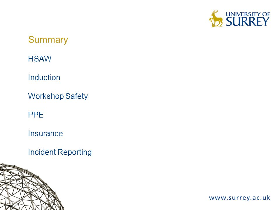 Summary HSAW Induction Workshop Safety PPE Insurance Incident Reporting