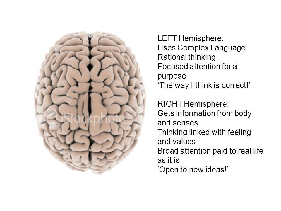 LEFT Hemisphere: Uses Complex Language Rational thinking Focused attention for a purpose 'The way I think is correct!' RIGHT Hemisphere: Gets information from body and senses Thinking linked with feeling and values Broad attention paid to real life as it is 'Open to new ideas!'