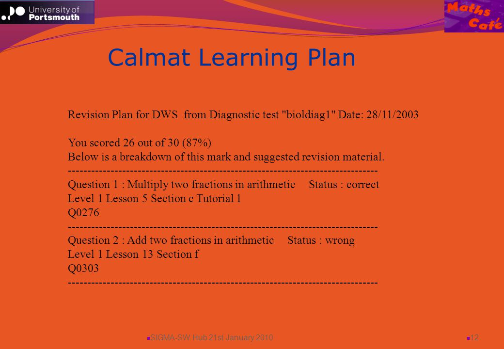 SIGMA-SW Hub 21st January 2010 12 Calmat Learning Plan Revision Plan for DWS from Diagnostic test bioldiag1 Date: 28/11/2003 You scored 26 out of 30 (87%) Below is a breakdown of this mark and suggested revision material.