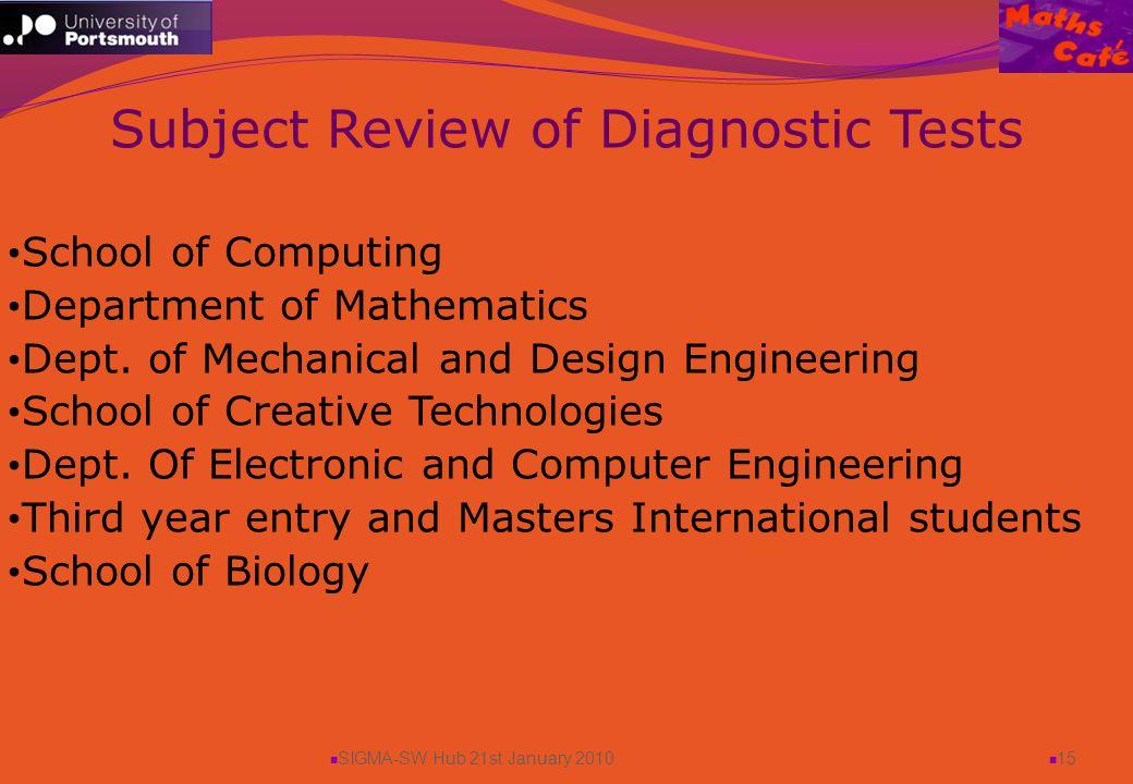 SIGMA-SW Hub 21st January 2010 15 School of Computing Department of Mathematics Dept.