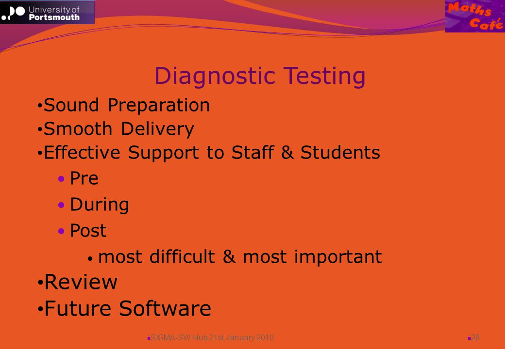 SIGMA-SW Hub 21st January 2010 28 Sound Preparation Smooth Delivery Effective Support to Staff & Students Pre During Post most difficult & most important Review Future Software Diagnostic Testing