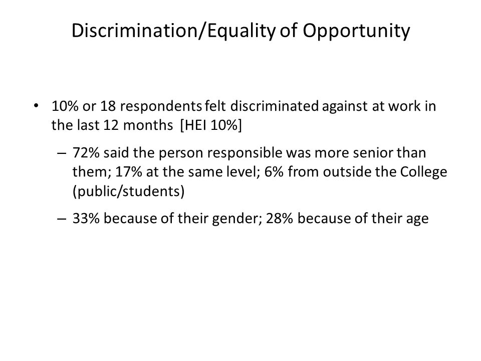 10% or 18 respondents felt discriminated against at work in the last 12 months [HEI 10%] – 72% said the person responsible was more senior than them; 17% at the same level; 6% from outside the College (public/students) – 33% because of their gender; 28% because of their age Discrimination/Equality of Opportunity
