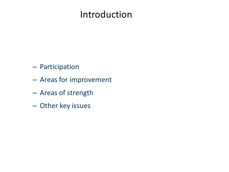 Introduction – Participation – Areas for improvement – Areas of strength – Other key issues