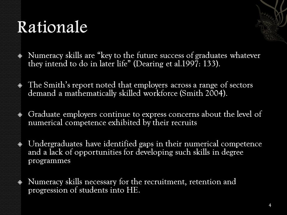  Numeracy skills are key to the future success of graduates whatever they intend to do in later life (Dearing et al.1997: 133).