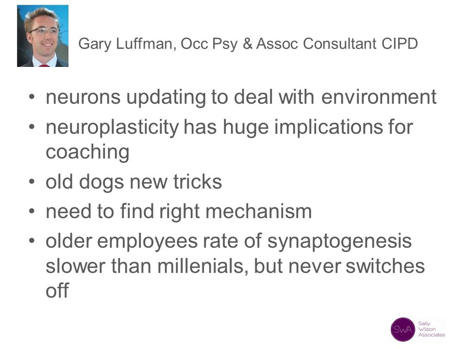 Gary Luffman, Occ Psy & Assoc Consultant CIPD neurons updating to deal with environment neuroplasticity has huge implications for coaching old dogs ne