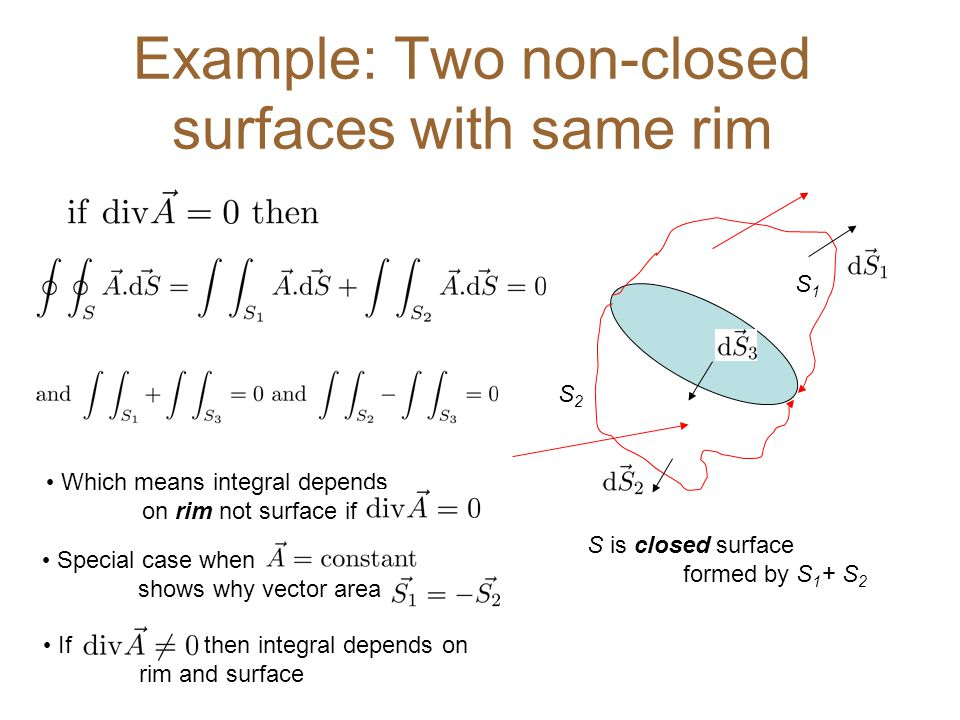 Example: Two non-closed surfaces with same rim S2S2 S1S1 Which means integral depends on rim not surface if If then integral depends on rim and surface S is closed surface formed by S 1 + S 2 Special case when shows why vector area