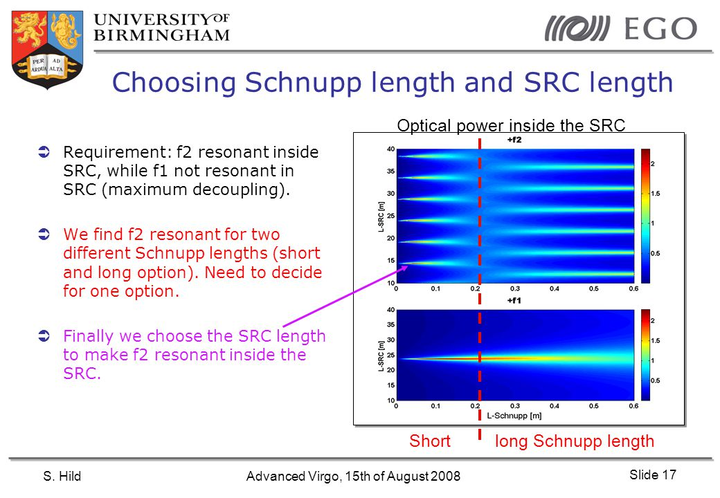 S. HildAdvanced Virgo, 15th of August 2008 Slide 17 Choosing Schnupp length and SRC length  Requirement: f2 resonant inside SRC, while f1 not resonan