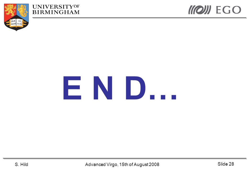 S. HildAdvanced Virgo, 15th of August 2008 Slide 28 E N D…