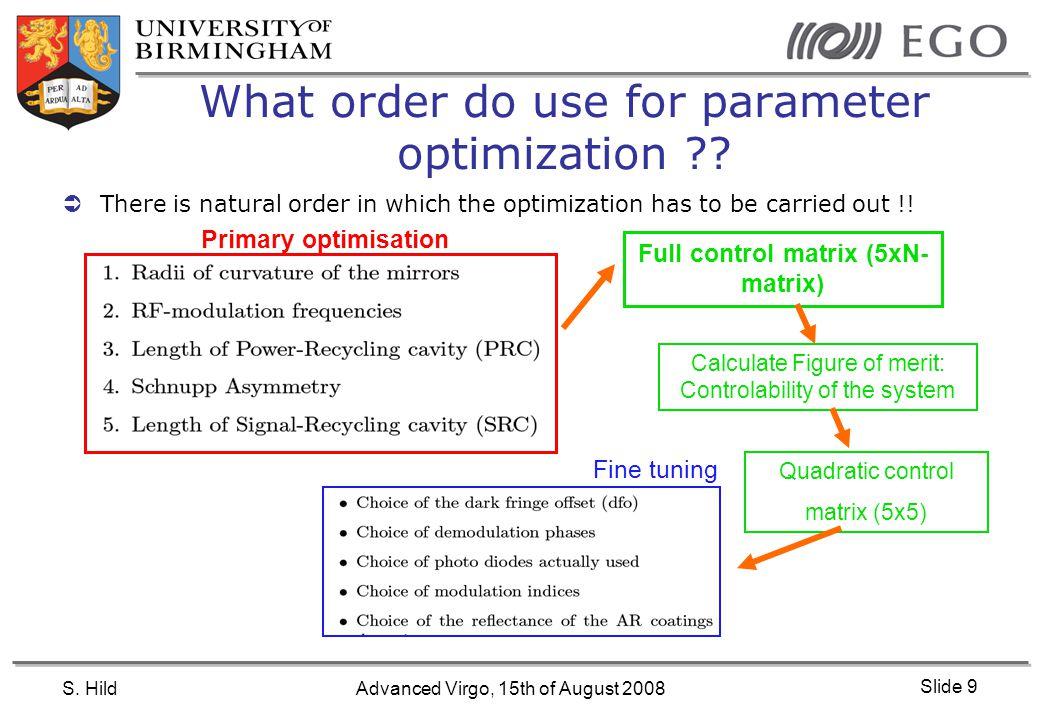 S. HildAdvanced Virgo, 15th of August 2008 Slide 9 What order do use for parameter optimization ?.