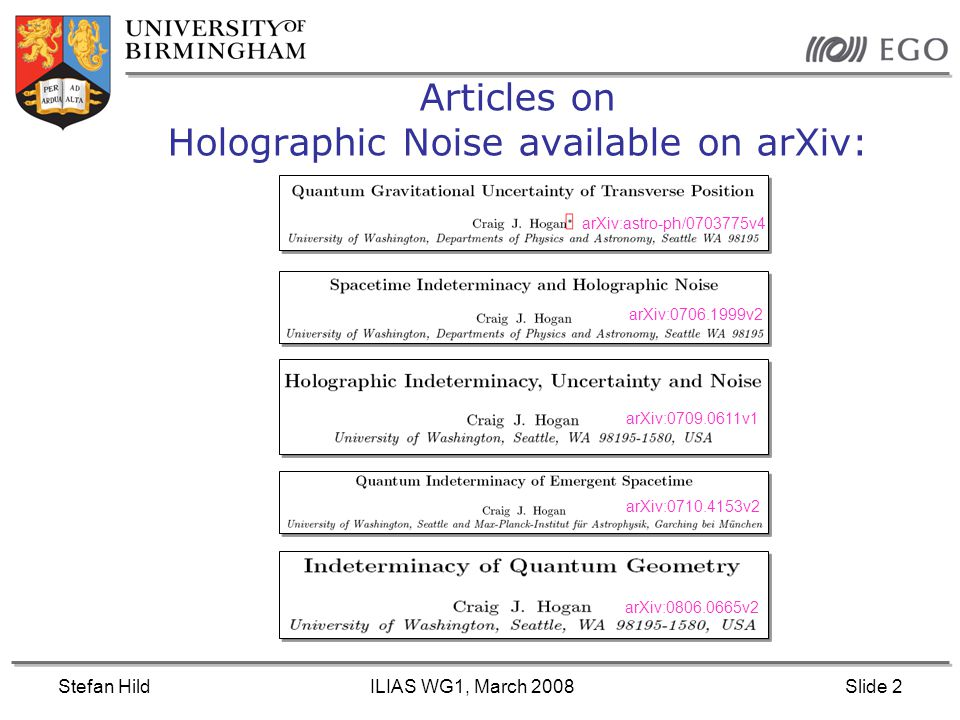 Stefan HildILIAS WG1, March 2008Slide 2 Articles on Holographic Noise available on arXiv: arXiv:0806.0665v2 arXiv:0710.4153v2 arXiv:0709.0611v1 arXiv:0706.1999v2 arXiv:astro-ph/0703775v4