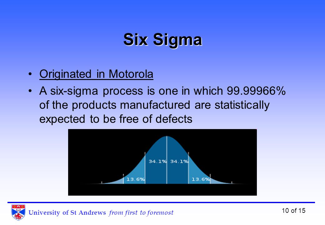 University of St Andrews from first to foremost 10 of 15 Six Sigma Originated in Motorola A six-sigma process is one in which 99.99966% of the products manufactured are statistically expected to be free of defects