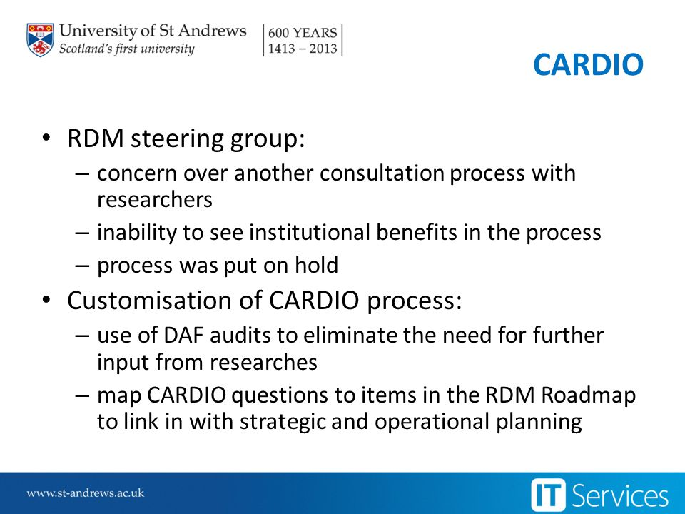 RDM Roadmap Based on Monash University Research Data Management Strategy and Strategic Plan 2012 - 2015 Adoption of University aims around: – Excellence and impact – World class infrastructure – Skills and knowledge – Integrity and professionalism – Leadership and collaboration List of action points for each EPSRC requirement