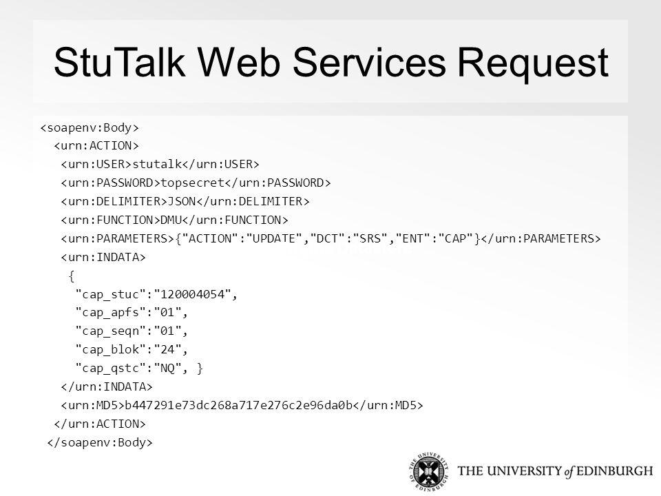 StuTalk Web Services Request stutalk topsecret JSON DMU { ACTION : UPDATE , DCT : SRS , ENT : CAP } { cap_stuc : 120004054 , cap_apfs : 01 , cap_seqn : 01 , cap_blok : 24 , cap_qstc : NQ , } b447291e73dc268a717e276c2e96da0b App Engine Datastore