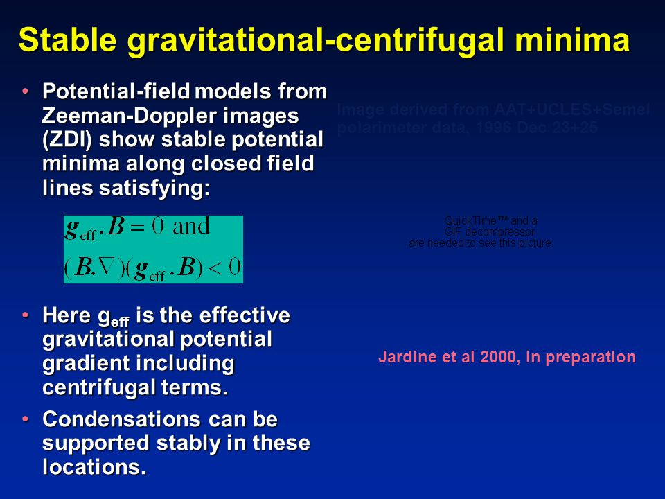 Stable gravitational-centrifugal minima Potential-field models from Zeeman-Doppler images (ZDI) show stable potential minima along closed field lines satisfying:Potential-field models from Zeeman-Doppler images (ZDI) show stable potential minima along closed field lines satisfying: Here g eff is the effective gravitational potential gradient including centrifugal terms.Here g eff is the effective gravitational potential gradient including centrifugal terms.