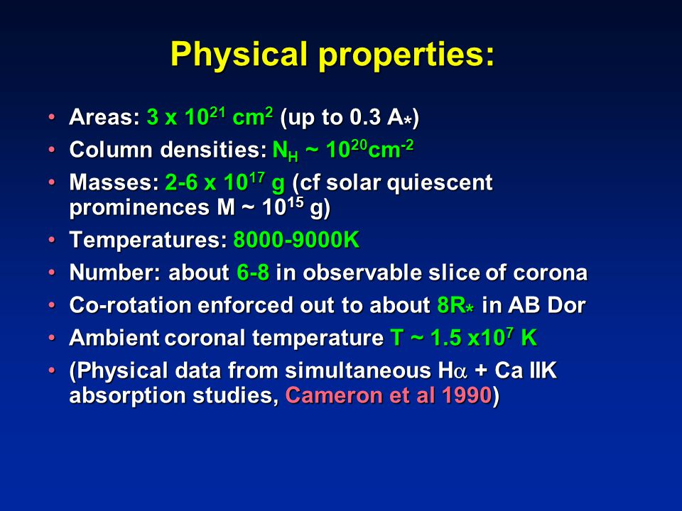 Physical properties: Areas: 3 x 10 21 cm 2 (up to 0.3 A * )Areas: 3 x 10 21 cm 2 (up to 0.3 A * ) Column densities: N H ~ 10 20 cm -2Column densities: N H ~ 10 20 cm -2 Masses: 2-6 x 10 17 g (cf solar quiescent prominences M ~ 10 15 g)Masses: 2-6 x 10 17 g (cf solar quiescent prominences M ~ 10 15 g) Temperatures: 8000-9000KTemperatures: 8000-9000K Number: about 6-8 in observable slice of coronaNumber: about 6-8 in observable slice of corona Co-rotation enforced out to about 8R * in AB DorCo-rotation enforced out to about 8R * in AB Dor Ambient coronal temperature T ~ 1.5 x10 7 KAmbient coronal temperature T ~ 1.5 x10 7 K (Physical data from simultaneous H  + Ca IIK absorption studies, Cameron et al 1990)(Physical data from simultaneous H  + Ca IIK absorption studies, Cameron et al 1990)