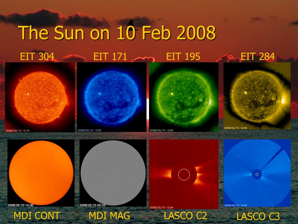 The Sun on 10 Feb 2008 EIT 304EIT 171EIT 195EIT 284 LASCO C3 LASCO C2MDI MAGMDI CONT